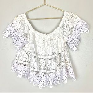 Free People Off the Shoulder White Lace Top Small